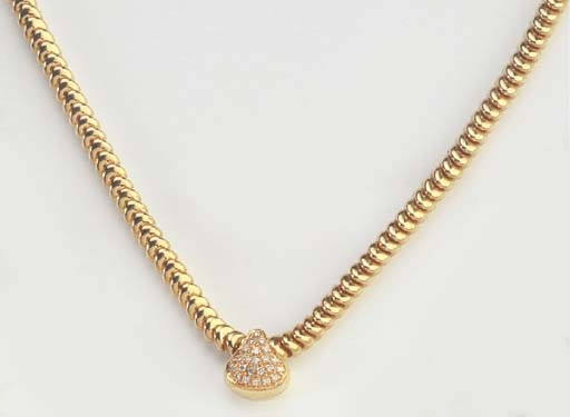 A DIAMOND AND PINK GOLD NECKLA