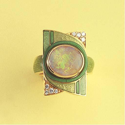 A DIAMOND OPAL AND ENAMEL RING