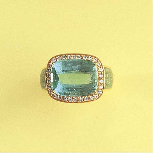 A TOURMALINE AND ENAMEL RING