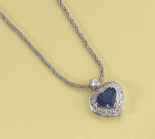 A DIAMOND AND SAPPHIRE HEART P