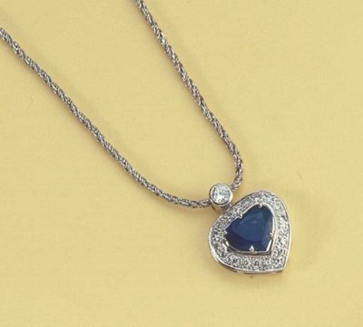 A DIAMOND AND SAPPHIRE HEART P