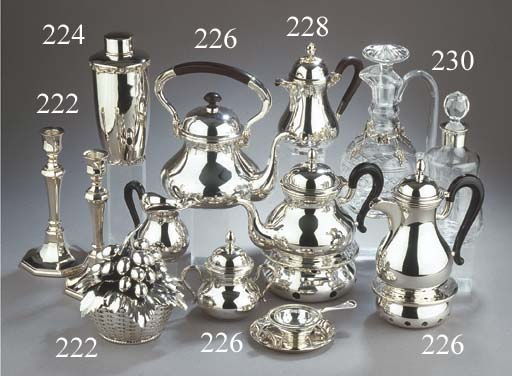 Four various silver coffee pot