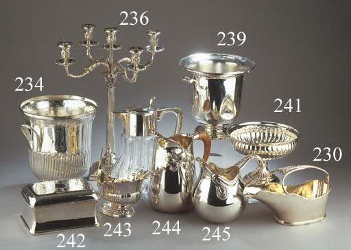 A silver five-light candelabru