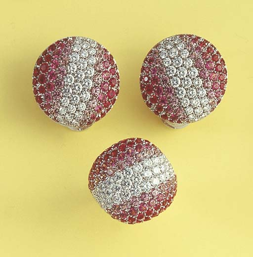 A PINK SAPPHIRE AND DIAMOND SU