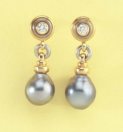 A PAIR OF GREY CULTURED PEARL