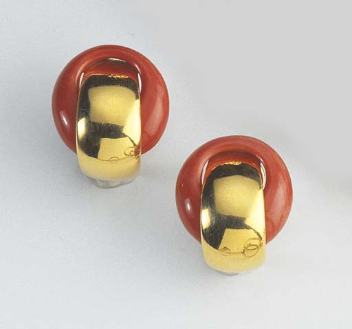A PAIR OF CORAL AND GOLD EARRI