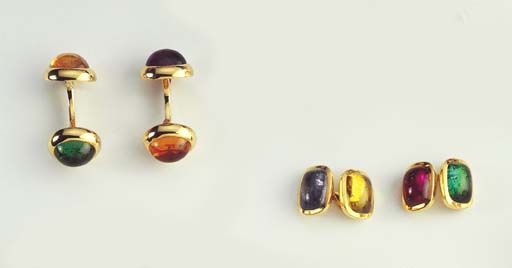 TWO PAIRS OF GEM SET AND GOLD