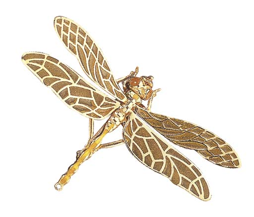 A GOLD AND ENAMEL DRAGONFLY BR