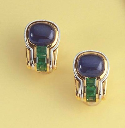 A PAIR OF CABOCHON SAPPHIRE AN