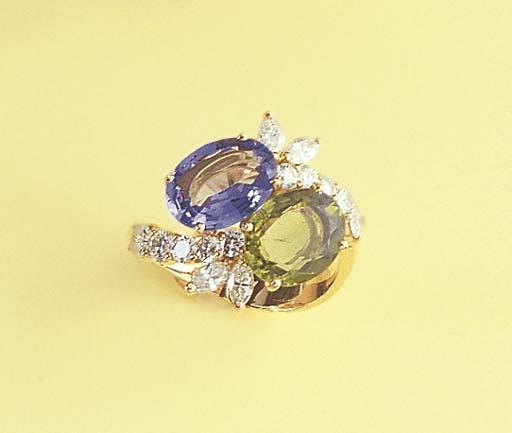A DIAMOND AND GEM-SET CROSS-OV