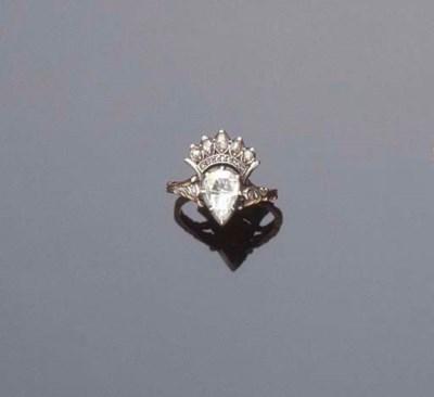 A ROSE-CUT DIAMOND RING AND BA