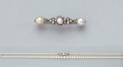 A PEARL AND DIAMOND NECKLACE A