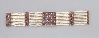 A PEARL RUBY AND DIAMOND BRACE