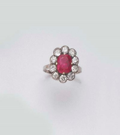 AN ANTIQUE BURMESE RUBY AND DI