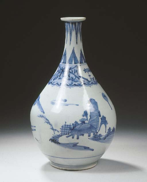 A Japanese Imari blue and whit