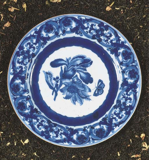 A chinese blue and white 'Marie Sybille Merian' plate