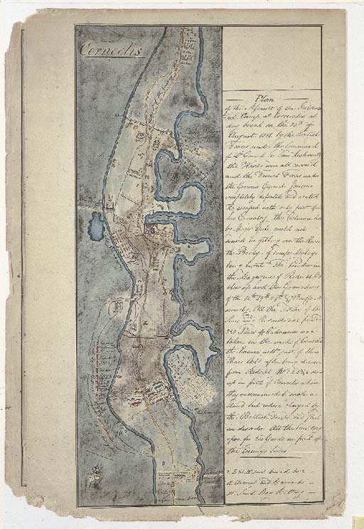 Plan of the assault on the Intrench (...) Camp at Corneelis at day break on the 26th of August 1811 (...) by the Britisch Forces under the Command of. General Sir Sam. Auchmuty (...).