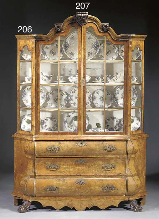 A Dutch burr-walnut display ca
