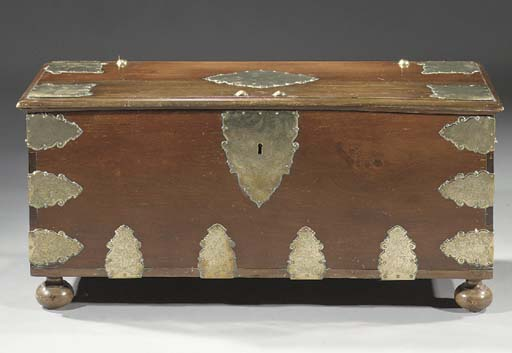 A Dutch colonial brass-mounted teak chest