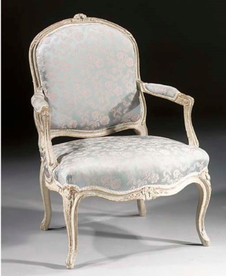 A French grey-painted and parc