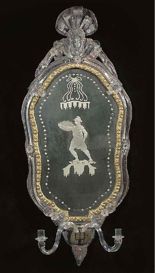 A Venetian Murano glass, engra