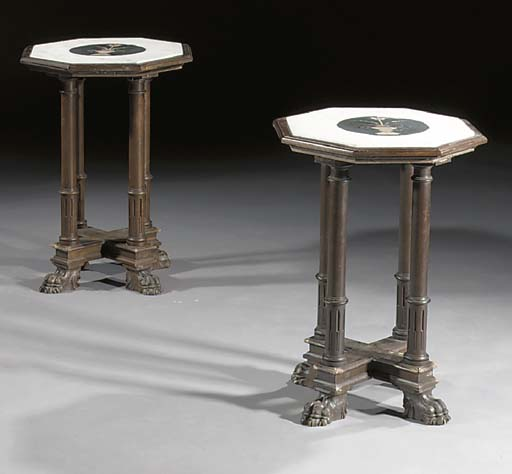 A pair of stained wood occasio