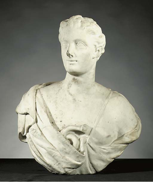 A white marble portrait buste of a man