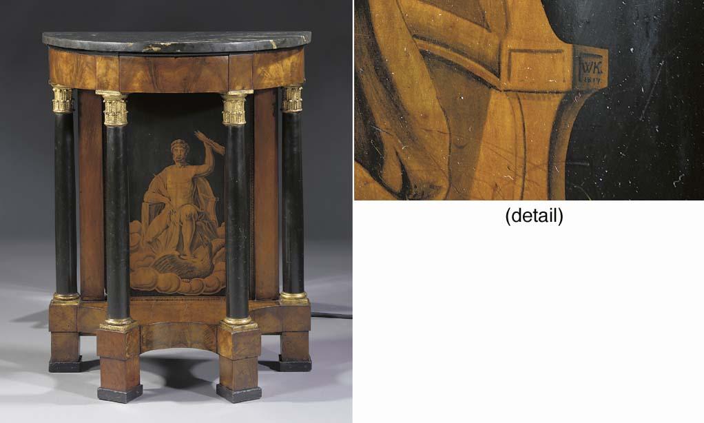 A Viennese mahogany giltwood a