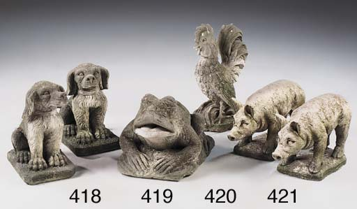 A pair of limestone seated dog