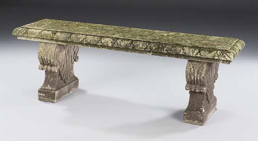 A limestone garden bench