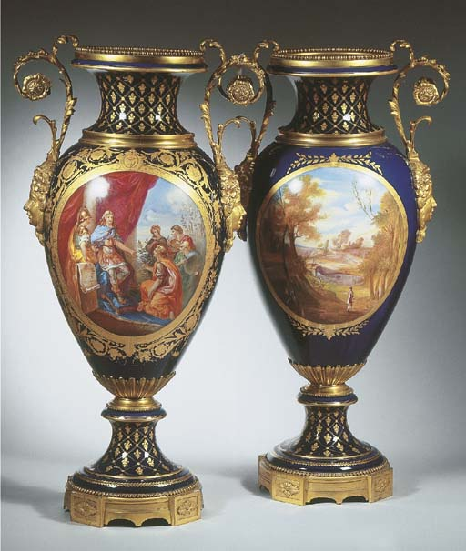 A pair of very large Sèvres-st