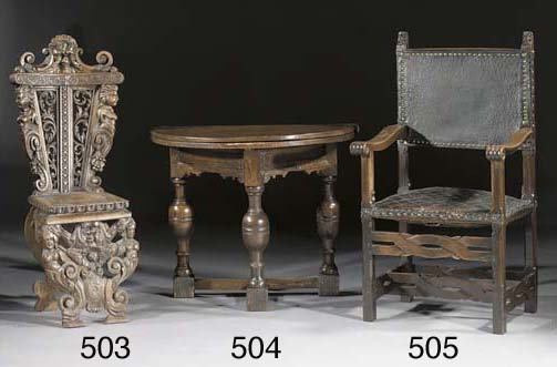 An English oak demilune table