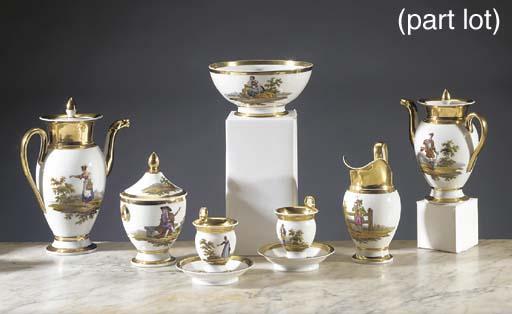 A Paris porcelain gilt coffee and tea service
