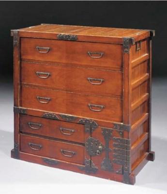 A Keyaki wood merchant chest,