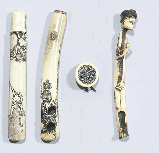 Four stag antler pipe-holders
