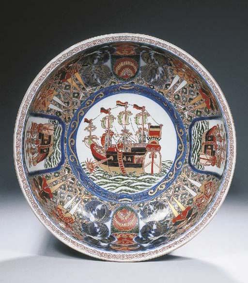 An Imari 'Black Ship' bowl