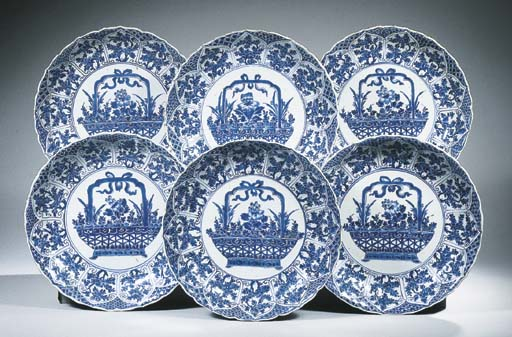 A set of six blue and white ch