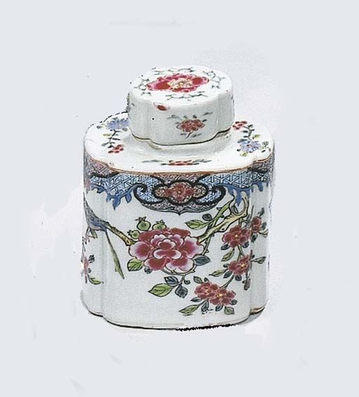 A famille rose tea-caddy and a