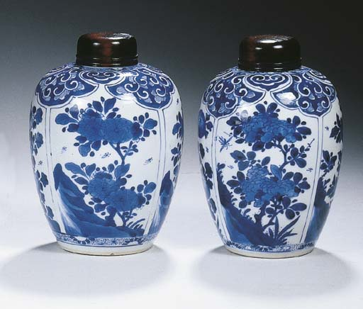 A pair of blue and white ovifo