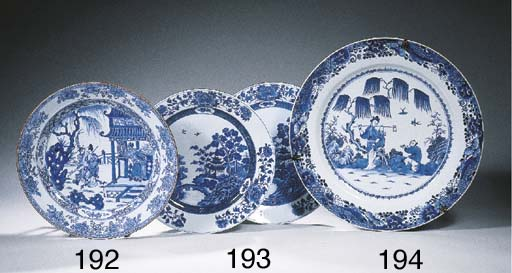 A blue and white dish