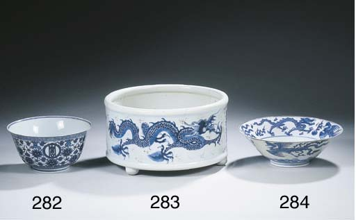 A blue and white conical bowl