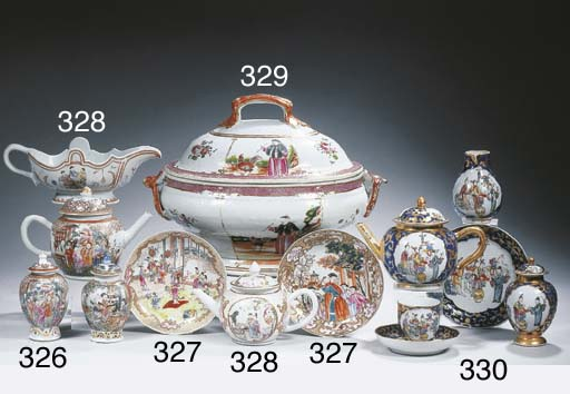 A famille rose oval tureen and