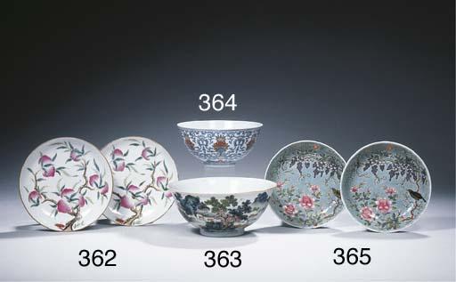 A famille rose landscape bowl