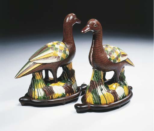 A pair of sancai-glazed biscui