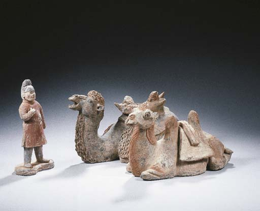 Two grey pottery figures of a