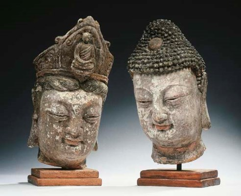 A stucco head of Buddha Shakya