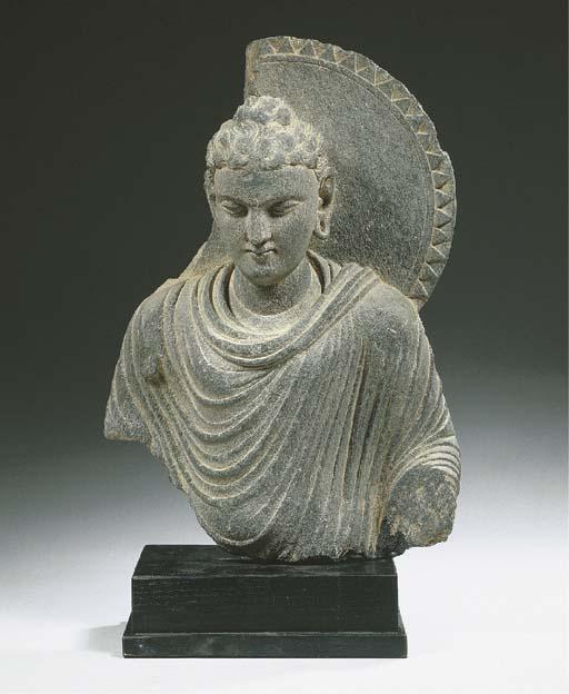 a gandhara grey schist bust of