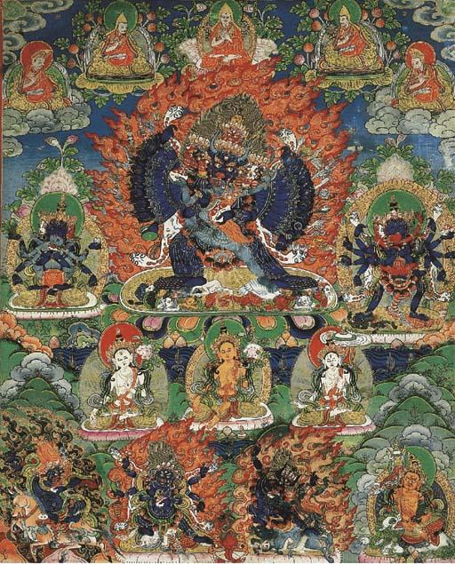 a tibetan thang.ka depicting v