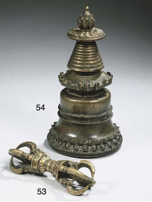 a tibetan bronze stupa