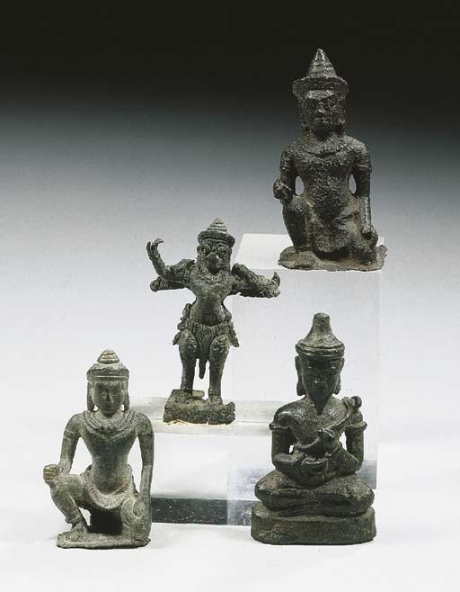 four khmer bronze figures of g